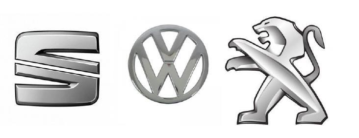logos seat, volkswagen y peugeot