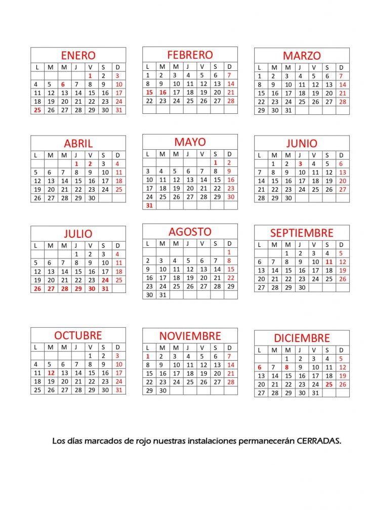 DESGUACES N430 CALENDARIO LABORAL DEL AÑO 2021
